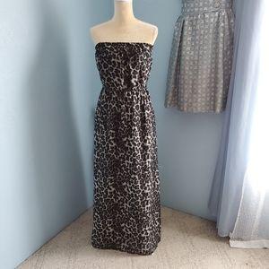 Leopard/animal print halter top maxi dress B15